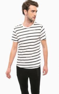Хлопковая футболка в полоску Guess
