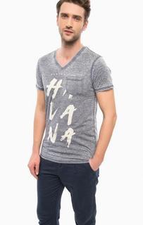 Трикотажная футболка с треугольным вырезом Guess
