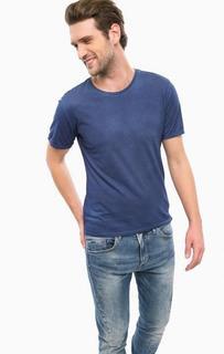 Синяя хлопковая футболка с круглым вырезом Guess