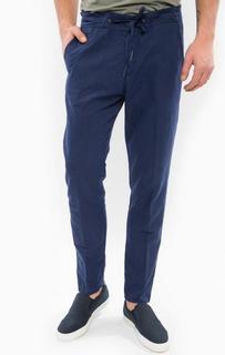 Синие зауженные брюки из хлопка и льна Drykorn