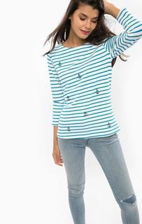 Хлопковый свитшот в полоску с вышивкой Sugarhill Boutique