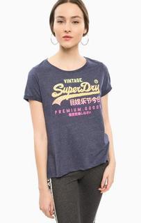 Синяя футболка с ярким принтом Superdry