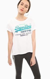 Белая хлопковая футболка с принтом Superdry