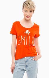 Оранжевая футболка из хлопка с принтом Tom Tailor Denim