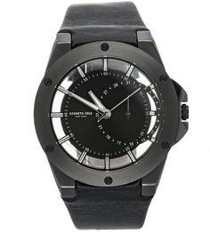 Часы с круглым циферблатом и кожаным браслетом Kenneth Cole