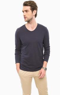 Синяя хлопковая футболка с длинными рукавами Marc Opolo