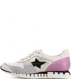 Кожаные кроссовки с фактурными вставками A.S.98