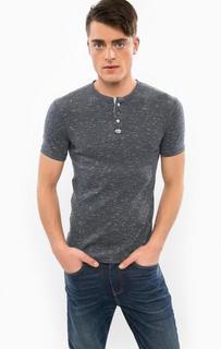 Хлопковая футболка с застежкой на пуговицы Superdry