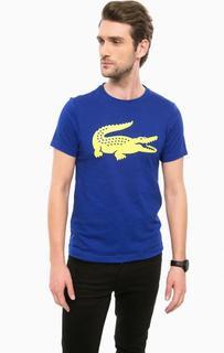Синяя хлопковая футболка с принтом Lacoste