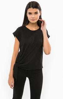 Черная хлопковая футболка Drykorn
