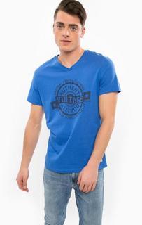 Синяя хлопковая футболка с треугольным вырезом Blend