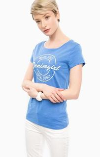 Синяя футболка из хлопка с принтом Tom Tailor Denim