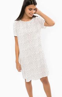 Платье-рубашка белого цвета в горошек B.Young