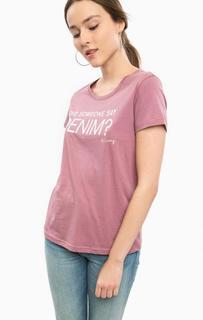 Сиреневая футболка с принтом Mustang