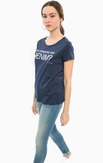 Синяя футболка с принтом Mustang