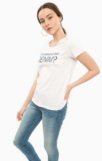 Белая хлопковая футболка с короткими рукавами Mustang