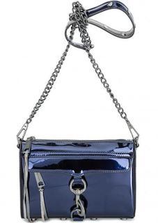 Синяя лаковая сумка через плечо Rebecca Minkoff