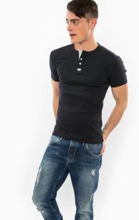 Синяя хлопковая футболка с застежкой на пуговицы Superdry