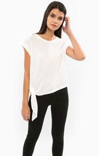Белая хлопковая футболка Drykorn