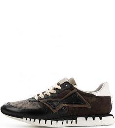 Текстильные кроссовки с кожаными вставками A.S.98