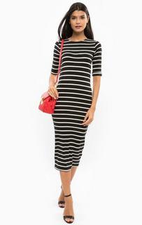 Платье в полоску с отворотами на рукавах Sugarhill Boutique