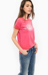 Хлопковая футболка цвета фуксии Pepe Jeans