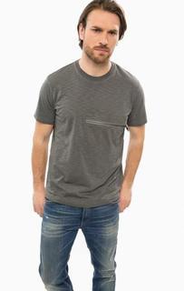 Серая футболка с карманом на молнии Diesel