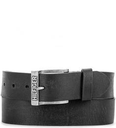 Черный кожаный ремень Hilfiger Denim