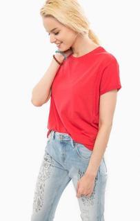 Красная хлопковая футболка с круглым вырезом Pepe Jeans