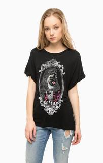 Черная футболка с принтом Replay