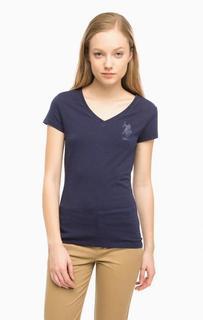 Хлопковая футболка с отделкой стразами U.S. Polo Assn.