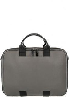 Кожаная сумка серого цвета с одним отделом на молнии Mandarina Duck