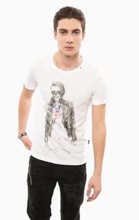 Белая футболка с принтом Replay