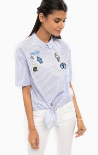 Блуза в полоску с нашивками Tom Tailor Denim