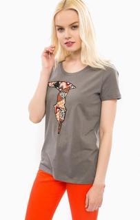 Хлопковая футболка с декоративной нашивкой Trussardi Jeans