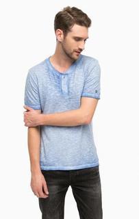 Хлопковая футболка с воротом на пуговицах Cinque