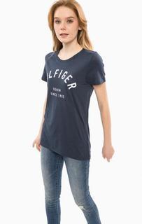 Синяя футболка с логотипом бренда Hilfiger Denim