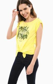 Желтая хлопковая футболка Liu Jo