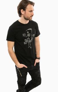 Черная хлопковая футболка с короткими рукавами D&S Ralph Lauren