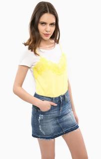 Хлопковая футболка с нашивкой-топом спереди Liu Jo