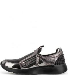 Кроссовки на молнии с лаковыми вставками Massimo Santini