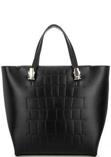 Вместительная черная сумка с тиснением Cavalli Class