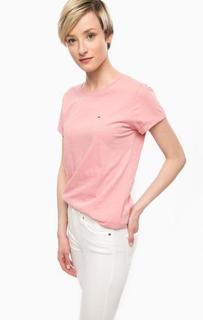 Розовая хлопковая футболка Hilfiger Denim