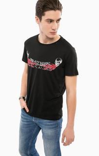 Черная хлопковая футболка с принтом Replay