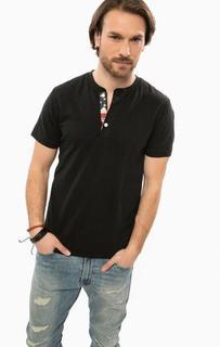 Черная хлопковая футболка с застежкой на пуговицы D&S Ralph Lauren
