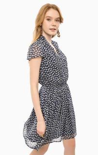Синее платье из вискозы с цветочным принтом D&S Ralph Lauren