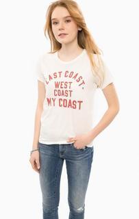 Белая хлопковая футболка с принтом D&S Ralph Lauren