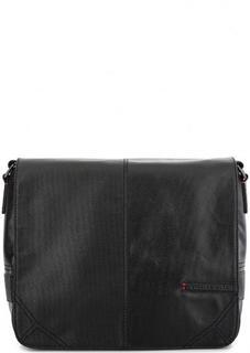 Черная сумка через плечо с откидным клапаном Trussardi Jeans