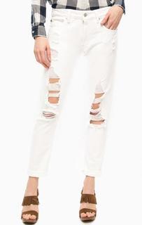 Рваные джинсы бойфренд белого цвета D&S Ralph Lauren