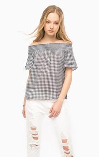 Хлопковая блуза в клетку с короткими рукавами D&S Ralph Lauren